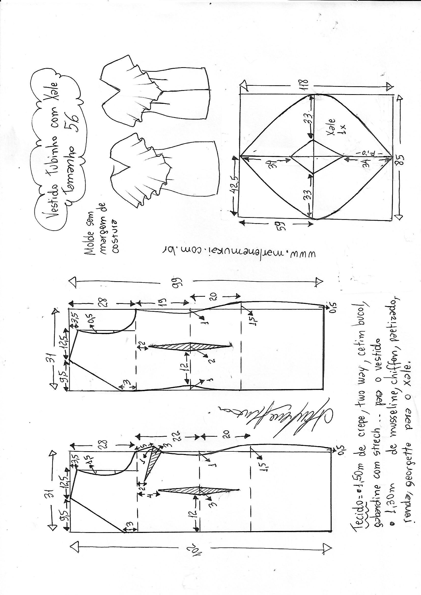 Vestido festa tubinho strech com decote xale | DIY - molde, corte e ...