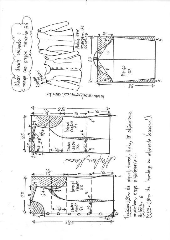 09c4360e2d Esquema de modelagem de blazer com decote redondo 36