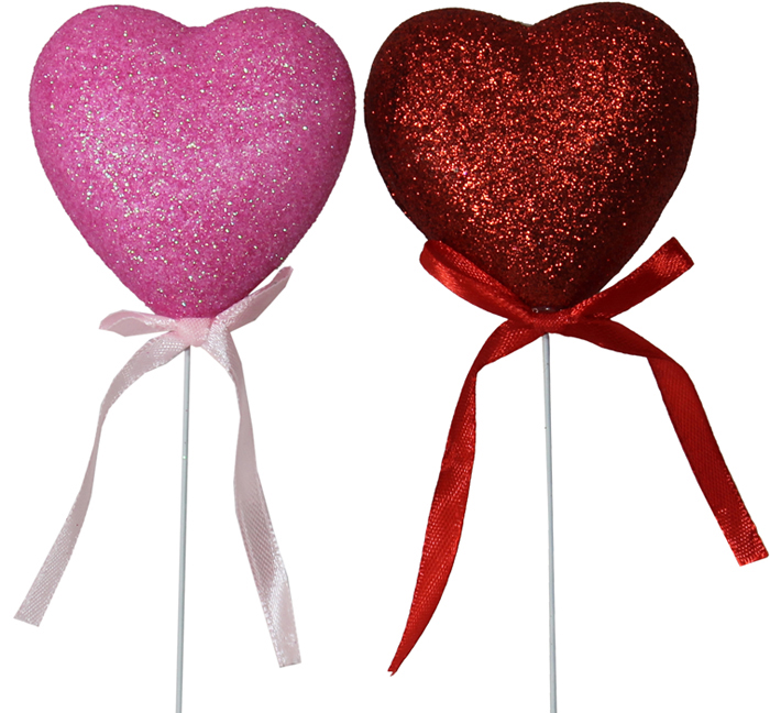 G87011 Puffed Glitter Heart Picks With Bow