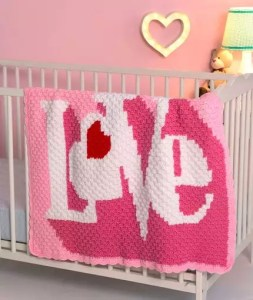 Red Heart Corner-to-Corner Heart Throb Blanket