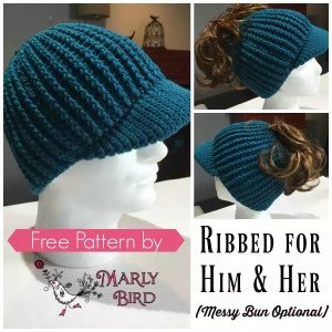 Ribbed for Him and Her Free Crochet Messy Bun Hat Pattern by Marly Bird