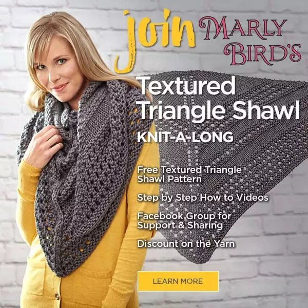 Textured Triangle Shawl Knit Along with Marly Bird