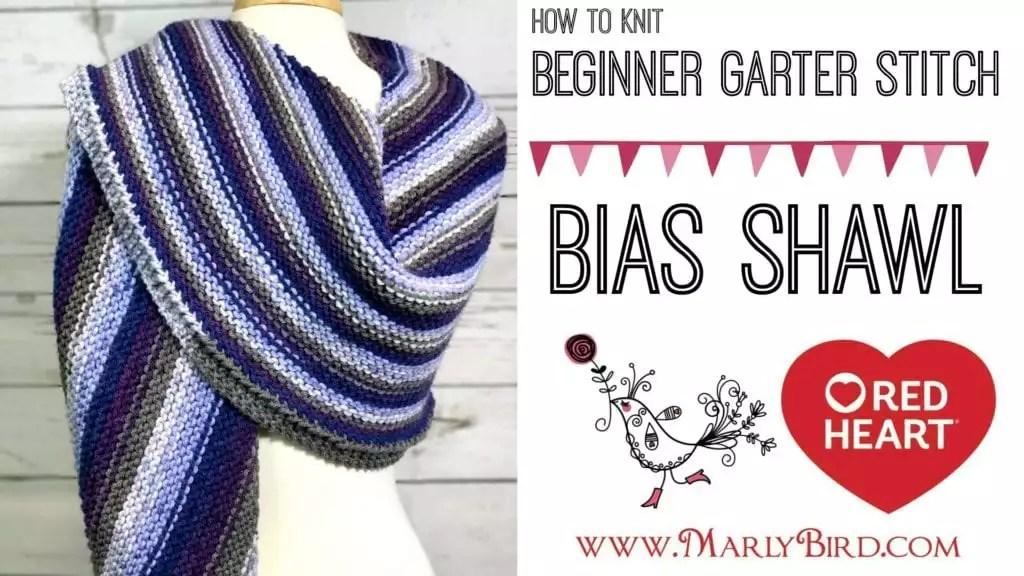 How to Knit Beginner Garter Stitch Bias Shawl