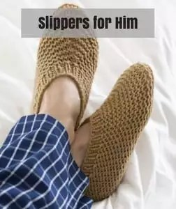 Red Heart Knit Father's Day Pattern-Slippers for Him