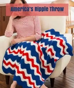 America's Ripple Throw Free Patriotic Crochet Pattern by Red Heart