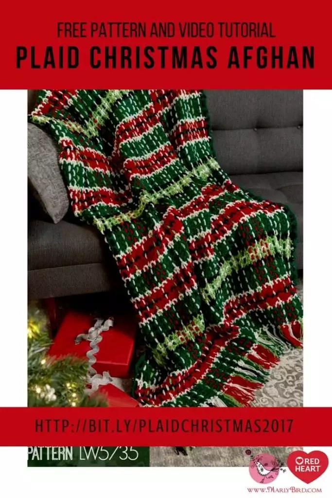 Plaid Christmas Afghan free pattern and video tutorial with Marly Bird