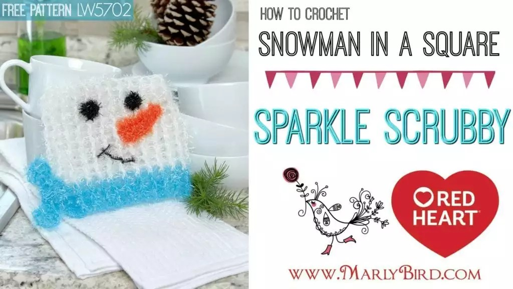 Red Heart Sparkle Scrubby Snowman Washcloth