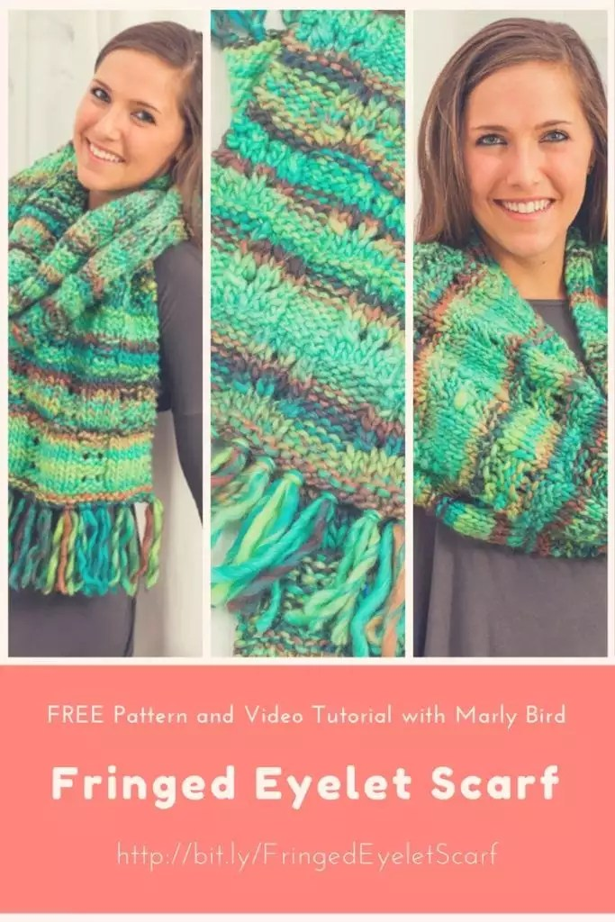 Video Tutorial with Marly Bird-How to knit the Fringed Eyelet Scarf