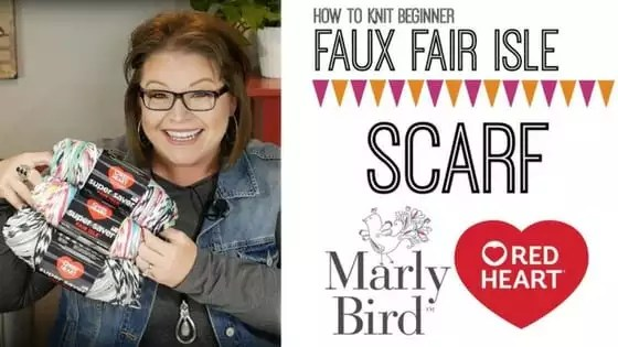 Video Tutorial with Marly Bird How to Knit the Faux Fair Isle Knit Scarf