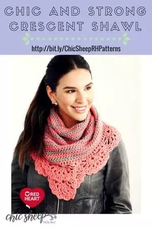 FREE Crochet Shawl pattern from Red Heart-Chic and Strong Crescent Shawl