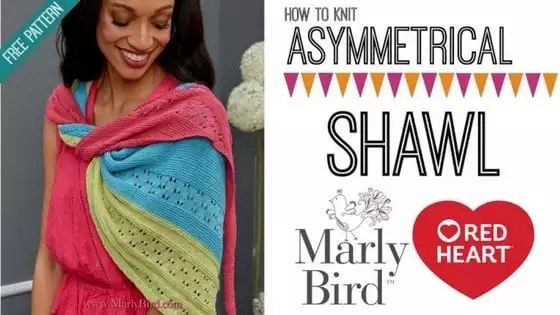 Knit Video Tutorial with Marly Bird-How to Knit the FREE Asymmetrical Shawl pattern from Red Heart