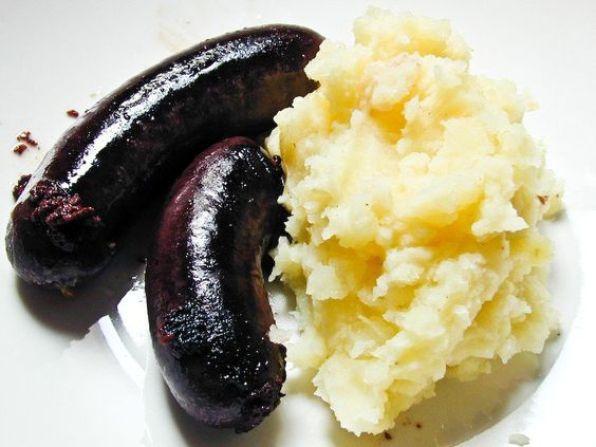 boudin noir au four et puree de pommes de terre