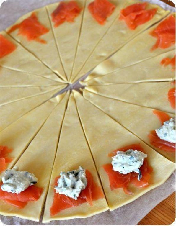 petits croissants au saumon fume recette