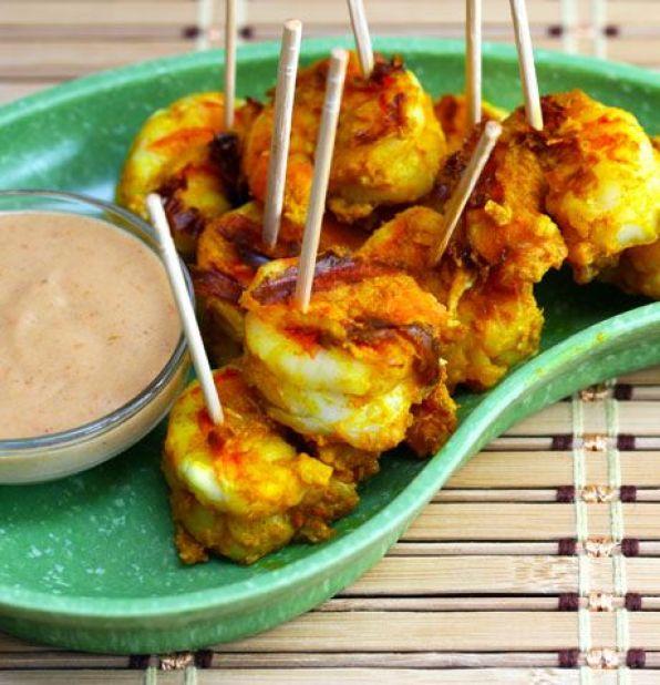 brochettes de crevettes au curry recette
