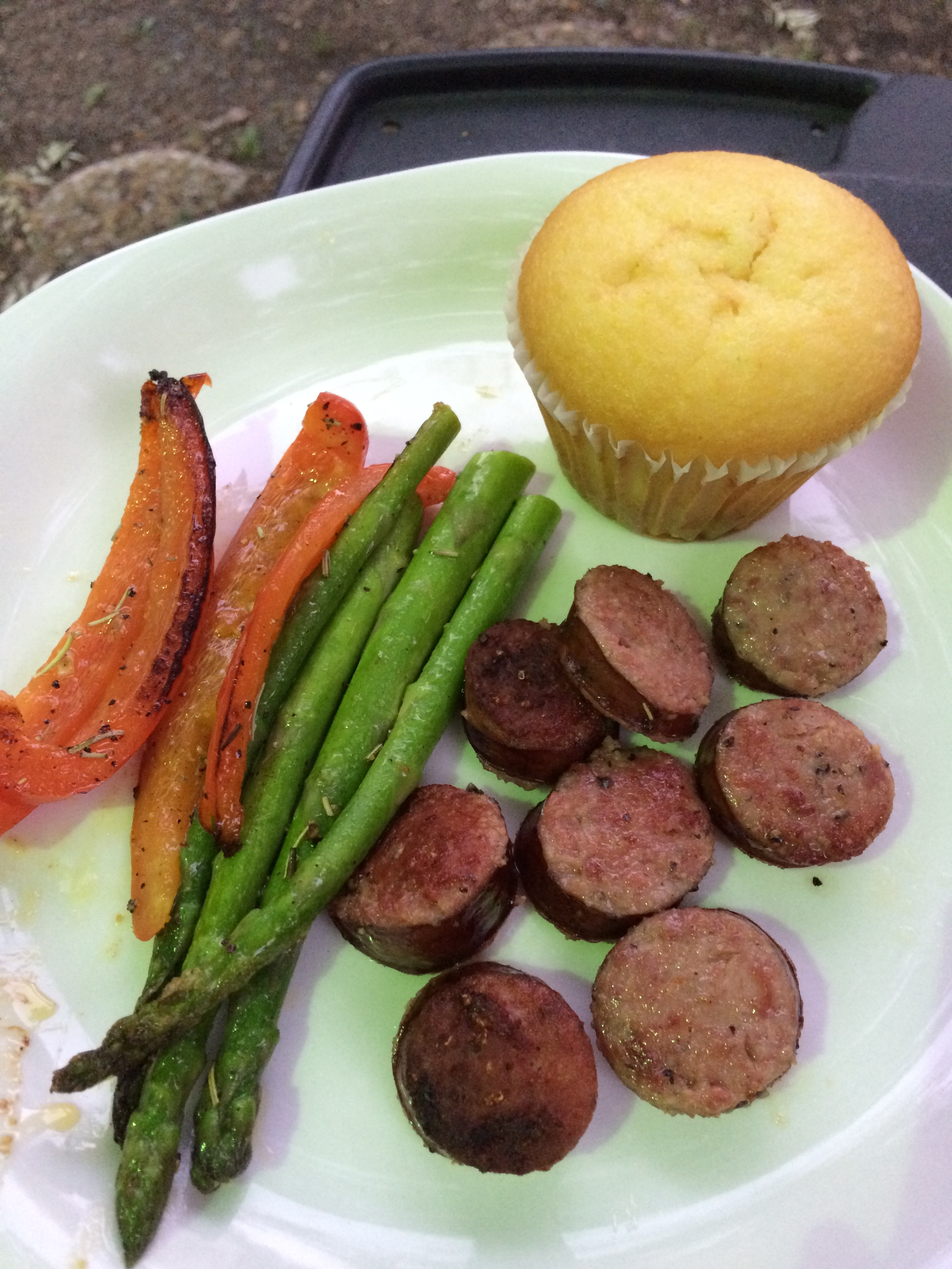 Sausage and Veggies on Grill