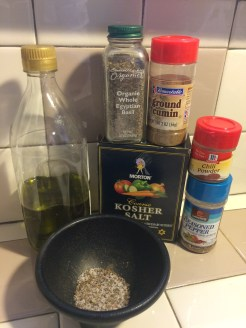 Olive oil and spices.