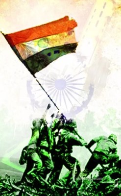 India armed force with flag
