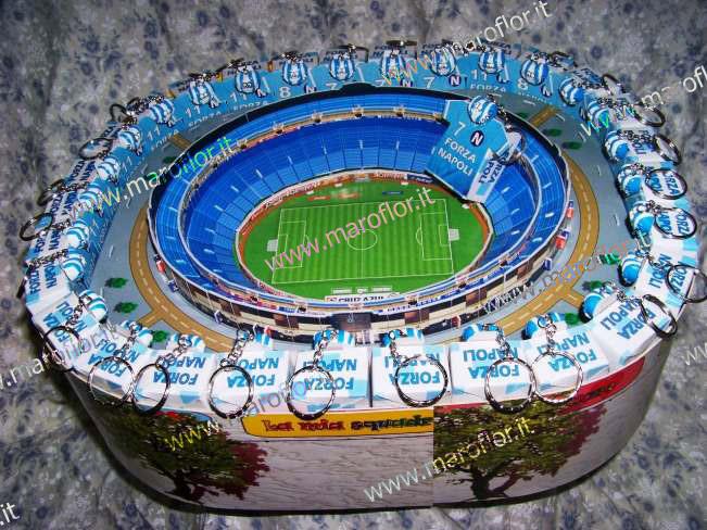 Bomboniere Torta Stadio Napoli 3D con 28 Portachiavi e