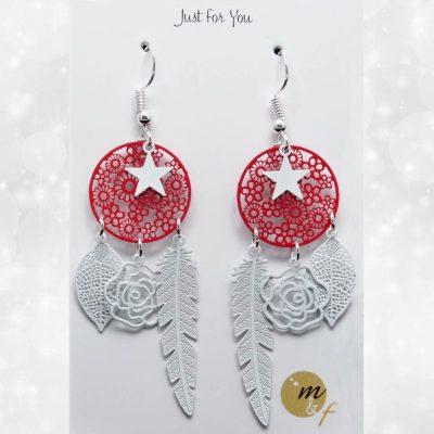 Boucles d'oreilles Dream blanches et rouges