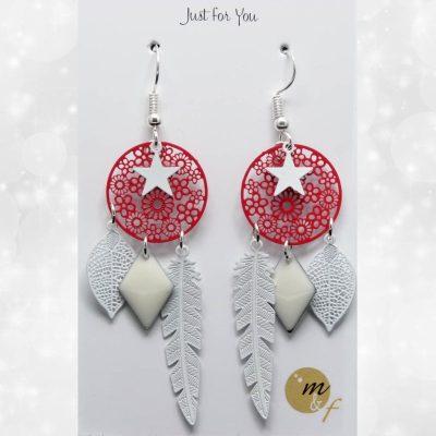 Boucles d'oreilles Dream rouges et blanches