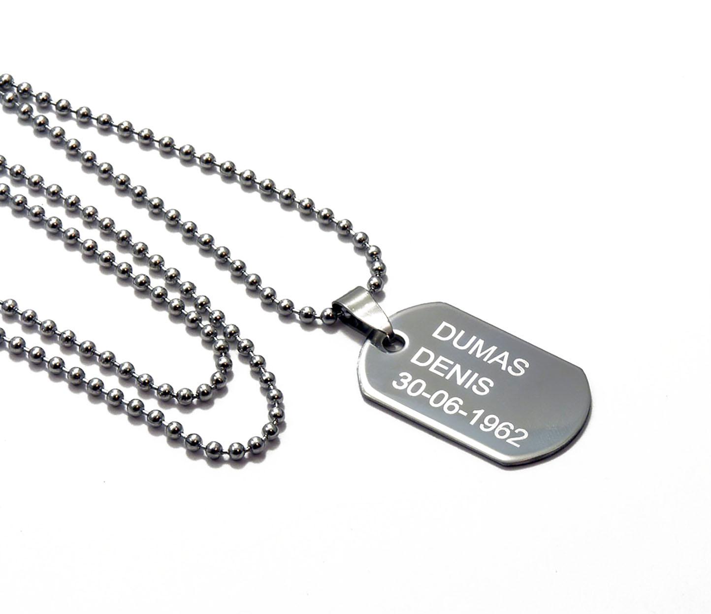collier pendentif personnalis type militaire marquage. Black Bedroom Furniture Sets. Home Design Ideas