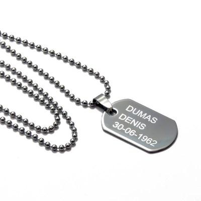 Collier pendentif personnalisé type militaire