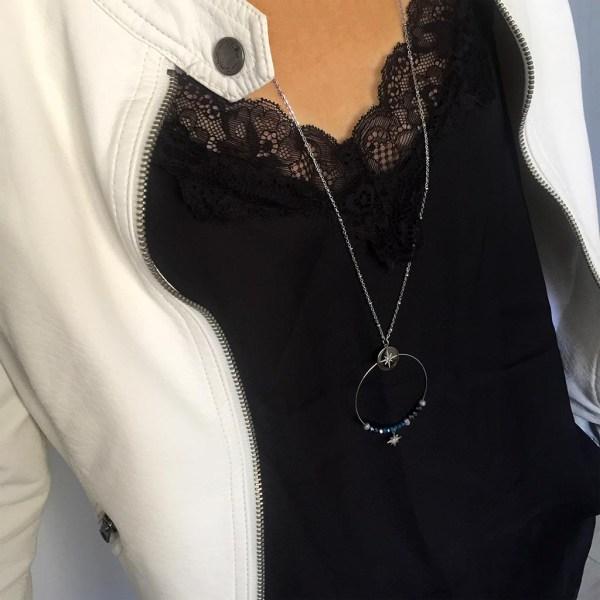 Collier femme acier inoxydable perles et étoile.