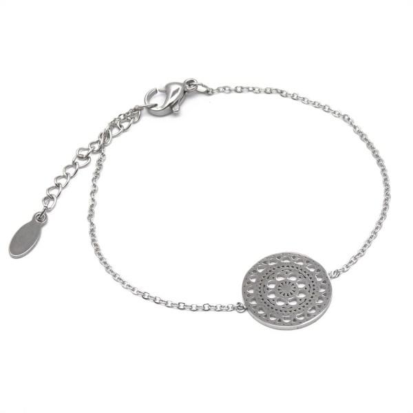 Bracelet femme acier inoxydable mandala.