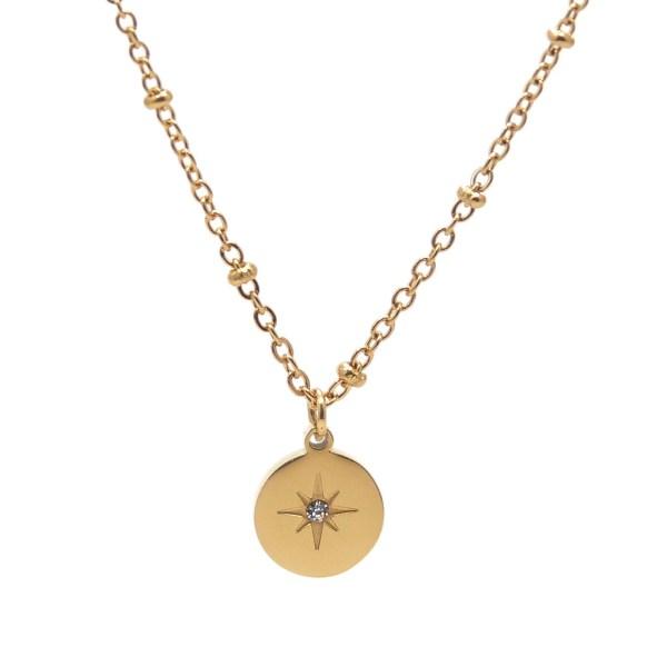 Collier pendentif étoile cristal en verre en acier inoxydable doré.
