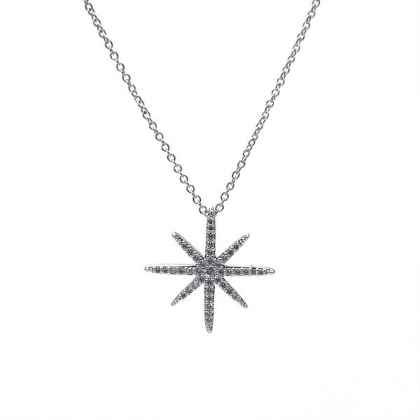 Collier pendentif étoile en acier inox et oxyde de zirconium.