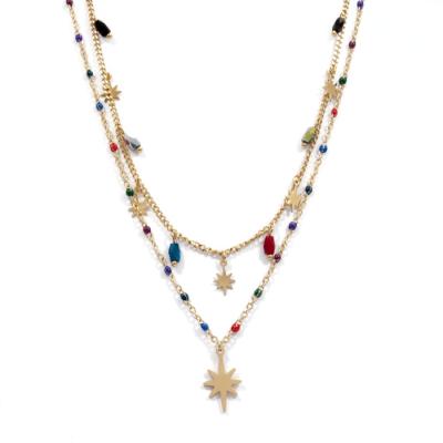 Collier étoiles polaires multicolore