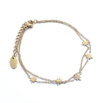 Bracelet étoiles en acier inoxydable doré