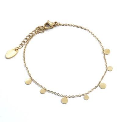 Bracelet ronds en acier inoxydable doré