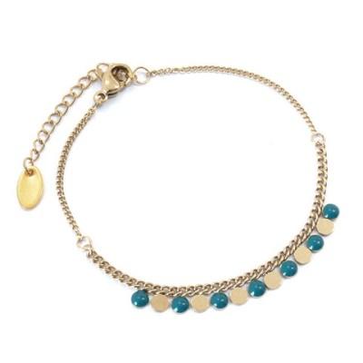 Bracelet ronds bleu canard et dorés