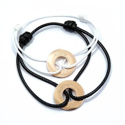 Duo de bracelets rondelles personnalisés dorés rose