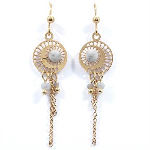 Boucles d'oreilles lune blanche et doré en acier inoxydable.