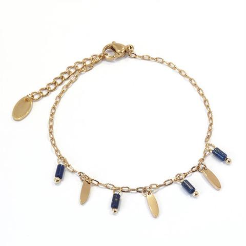 Bracelet femme perles bleu roi et navettes en acier inoxydable.