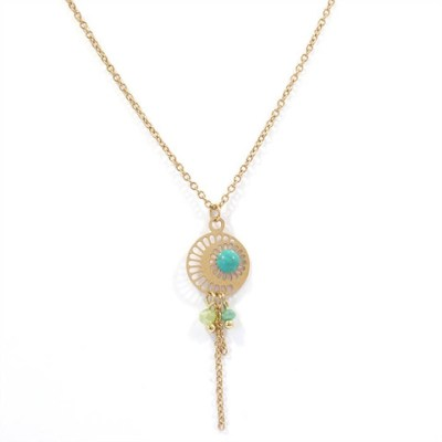 Collier pendentif moon turquoise