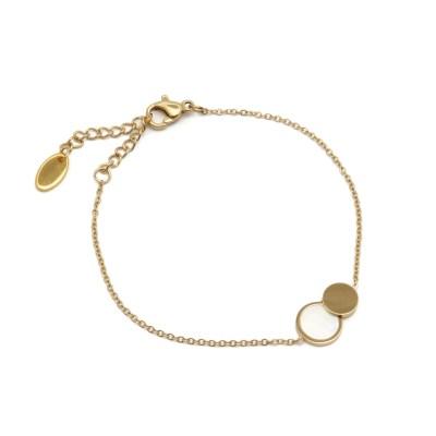 Bracelet double ronds en acier inoxydable doré