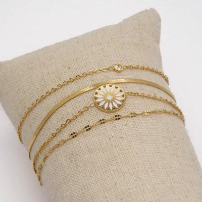 Bracelet 4 rangs blanc