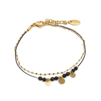 Bracelet pampilles en acier inoxydable doré