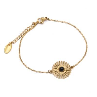 Bracelet soleil en acier inoxydable doré