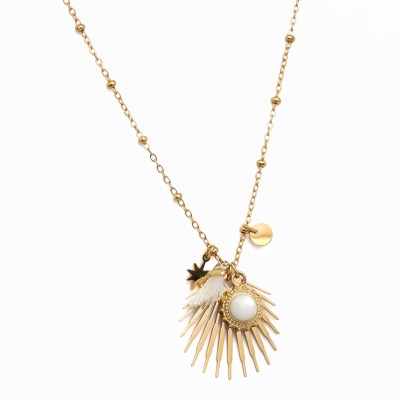 Collier pendentif Lilith pompon blanc