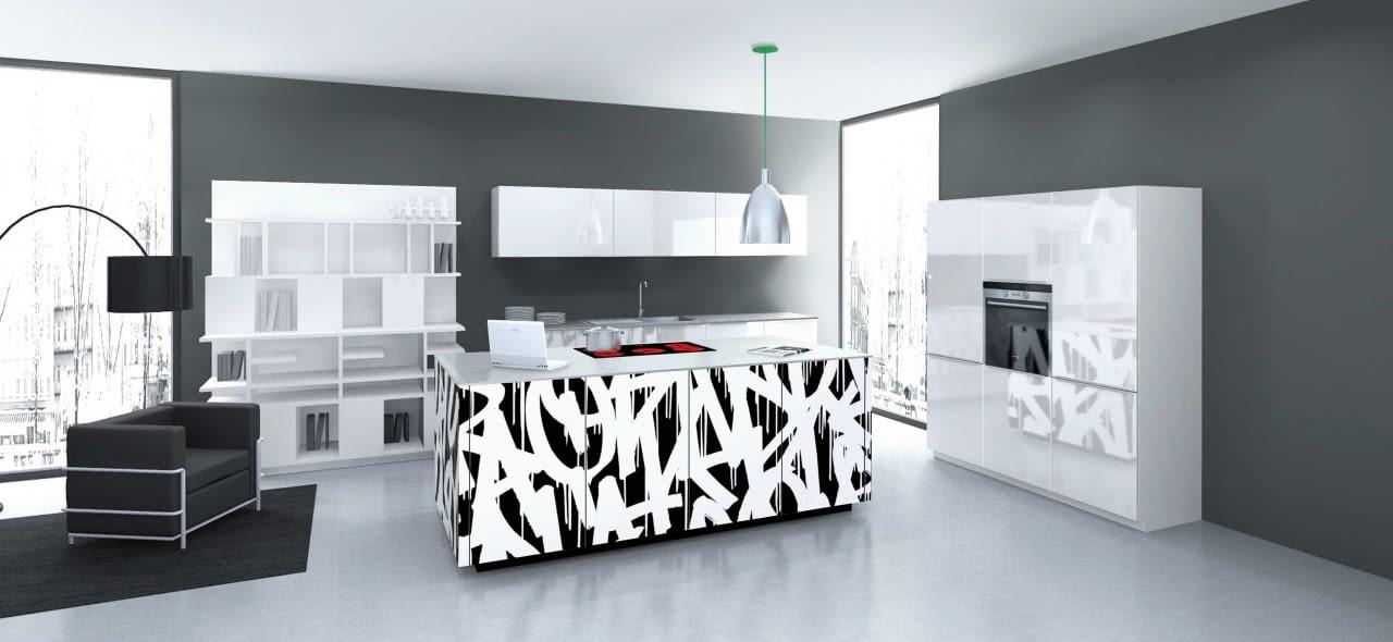 Moderne Inselkche Nolte Neo mit Quarzstein Blanco Zeus