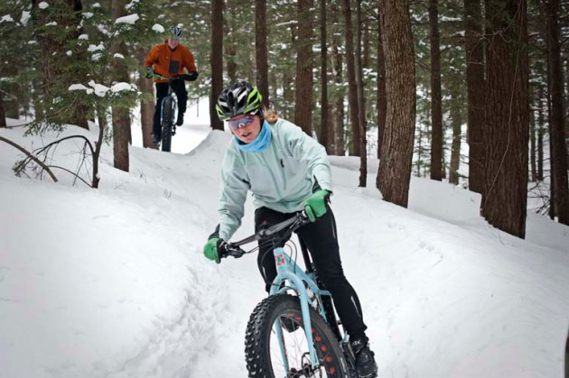 Two fat bike enthusisits ride on the Noquemanon Trail Network in Marquette, MI on Monday, March 17, 2014. (marquettemagazine.com photo by Ron Caspi)