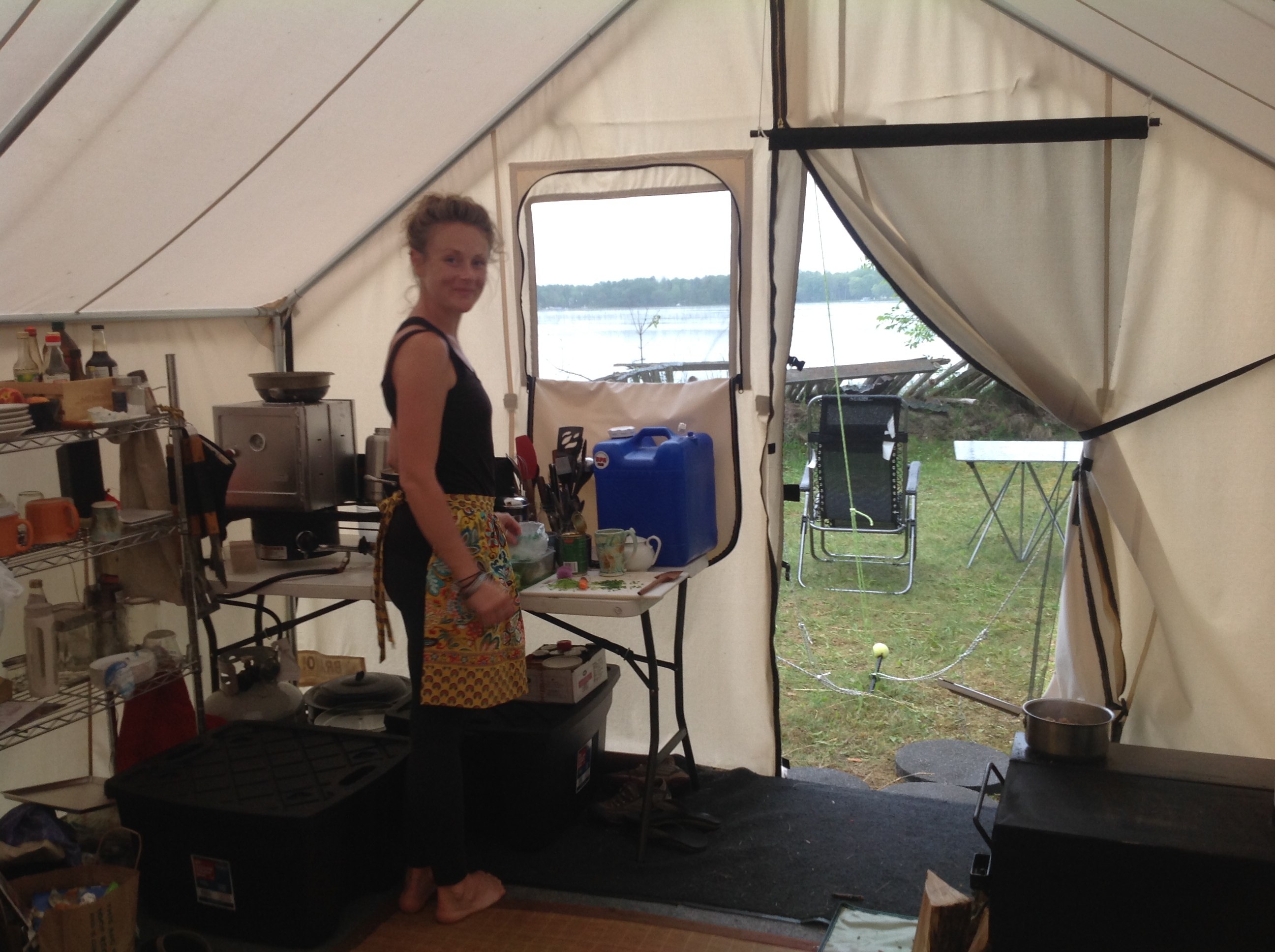 Rachel Mills cooking in the home-tent kitchen. & The Vagabond Kitchen: New Homes and Peach Bread Toast - Marquette ...