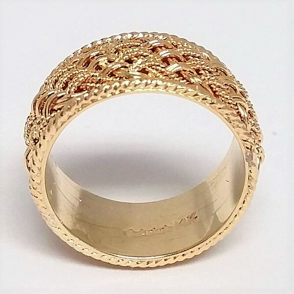 Mens Yellow Gold Braided Rope Trim Wedding Band