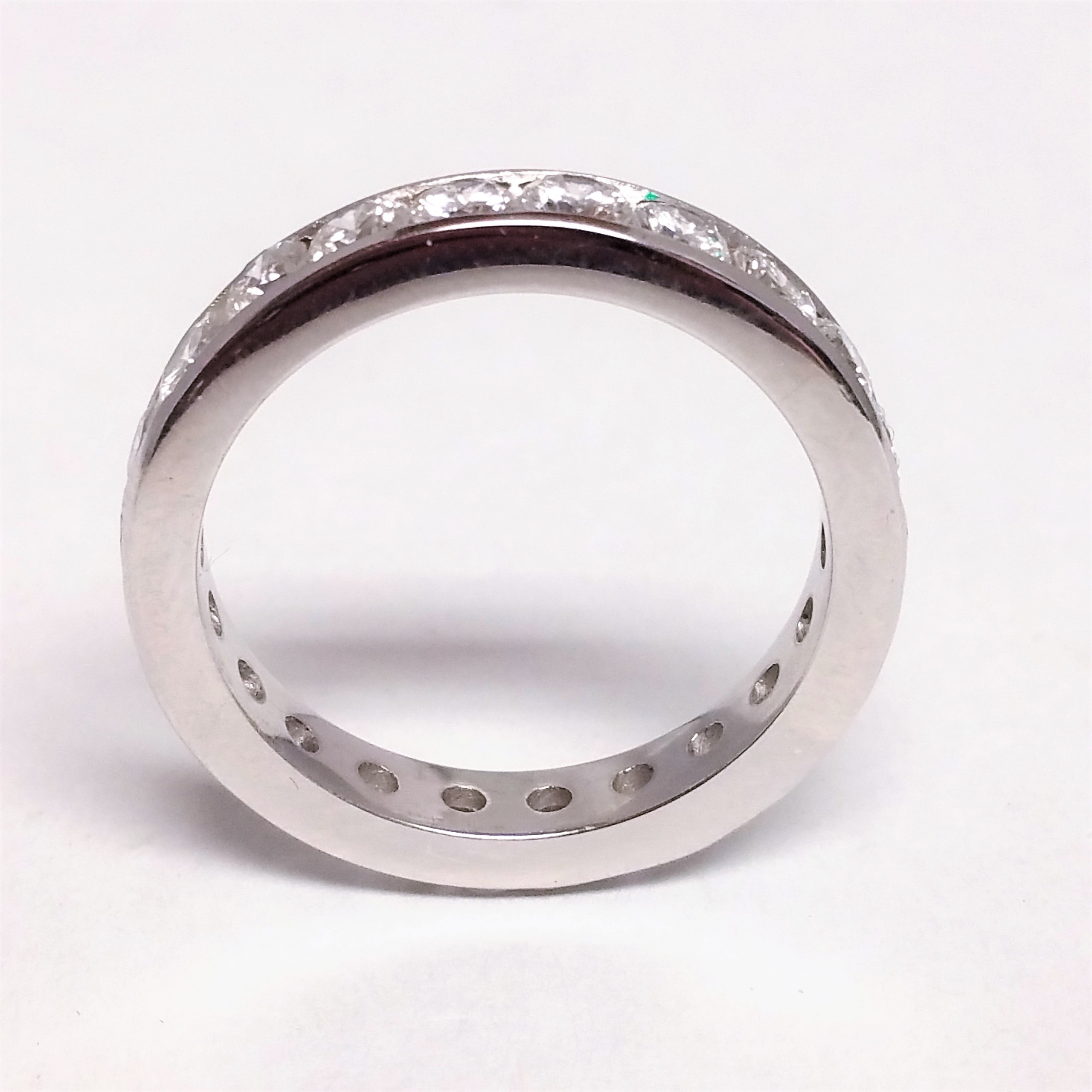 14K White Gold And Diamond Channel Set Band