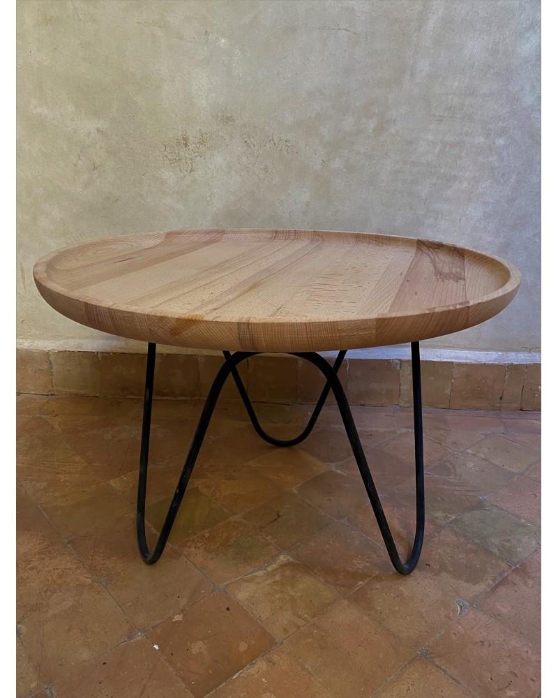 table basse bois hetre pied fer forge noir mat marrakech deco