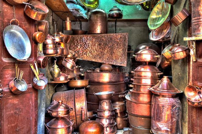 wonderful handmade copper ware exposed sale shop medina old kingdom city fes morocco africa 84542339